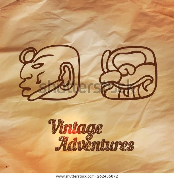 Ancient Scripts Maya Vector Illustration Vintage Stock
