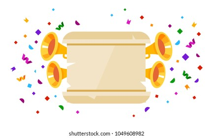 Ancient scroll paper with fanfare and confetti. Vector flat style illustration