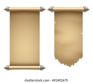 Ancient scrolls illustration with place for your text. Eps10 vector template.