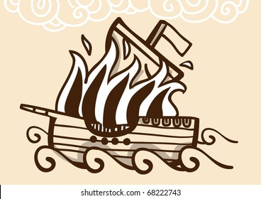 Ancient ship burning in the sea