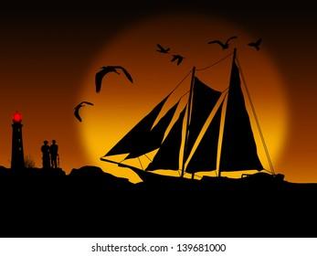 Ancient ship sailing at beautiful sunset, vector illustration
