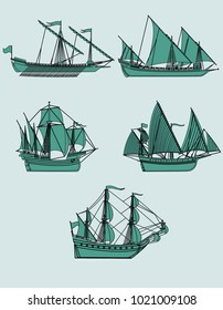 Ancient ships. A set of five images. Vector illustration.