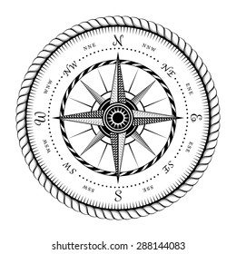 Ancient Sign of Wind Rose Engraving Stylized - Illustration Isolated on White Background