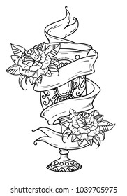 Ancient silver goblet with wine and roses. Symbol of grace, of enjoying life. Symbol of spiritual purification. Old school style. Black and white illustration