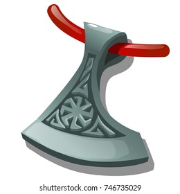 Ancient silver pendant with slavic symbol in the form of great axe of Perun, isolated on white background. Vector cartoon close-up illustration.