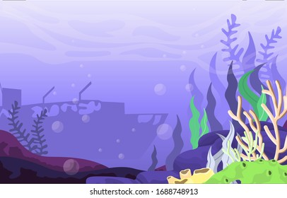 Ancient Sinking Ship Marine Coral Underwater Ocean Nature Illustration