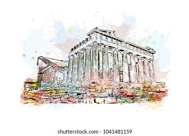 Ancient Sites in Athens, Greece. Watercolor splash with hand drawn sketch illustration in vector.