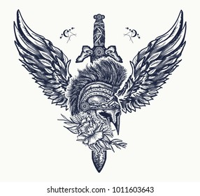 Ancient soldier, spartan warrior tattoo. Swords, rose and angel wings. Symbol of bravery, fight, hero and army