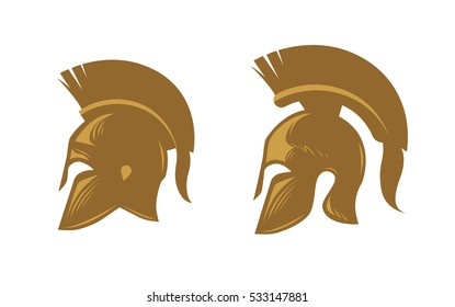 Ancient spartan helmet with feathered crest. Vector icons or symbols