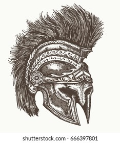 Ancient Spartan helmet hand drawn. Ancient greek war helmet