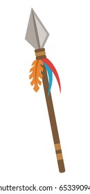 Ancient spear isolated on white background, flat style vector illustration.