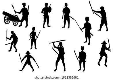 Ancient strong man and woman warrior cartoon shape vector design
