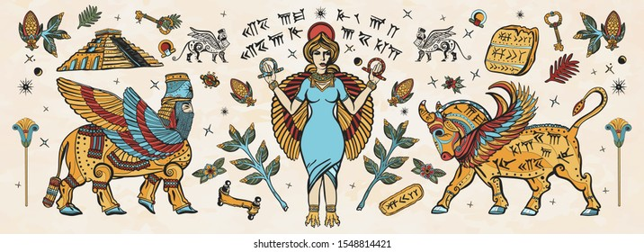 Ancient Sumerian Civilization. Old school tattoo collection. Mesopotamian goddess. Ishtar and Lamassu. Cuneiform writing, ziggurat. Assyrian culture. Gilgamesh legends. Middle East history