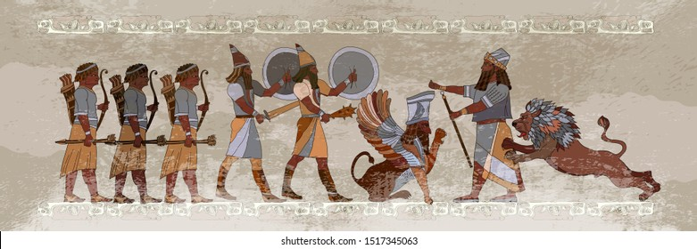 Ancient Sumerian culture. Akkadian Empire. Mesopotamia. Middle East history. King. Lion and warrior. Scene of fight. Old civilization art