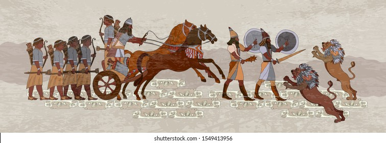 Ancient Sumerian culture. Akkadian Empire. Mesopotamia. Middle East history. Ancient civilization art. King on chariot. Lion and warrior. Scene of fight