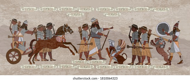 Ancient Sumerian culture. Akkadian Empire. King on chariot. Lion and warrior. Scene of fight. Mesopotamia. Middle East history. Ancient civilization art - Shutterstock ID 1810064323