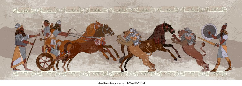 Ancient Sumerian culture. King on chariot. Lion and warrior. Scene of fight. Akkadian Empire. Mesopotamia. Middle East history. Ancient civilization art