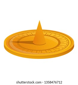 Ancient sundial icon. Cartoon of ancient sundial vector icon for web design isolated on white background