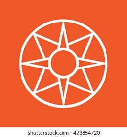 Ancient symbol icon Star of Ishtar vector illustration. Orange background