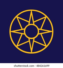 Ancient symbol icon Star of Ishtar vector illustration. Blue background