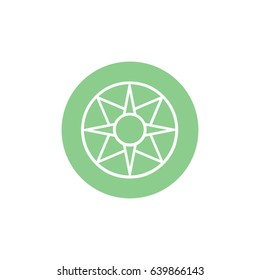 Ancient symbol icon Star of Ishtar vector illustration. Green circle. Green button