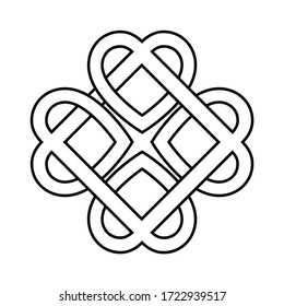 ancient symbol, the love knot twisted heart, vector heart shape woven into a wreath, a symbol of eternal love