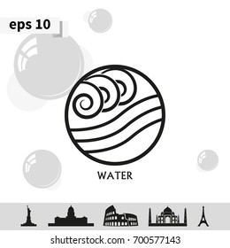 Ancient symbol of Water element with subscribe.