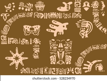 Ancient symbols of America. Images of characters of ancient American Indians.The Aztecs, Mayans, Incas.