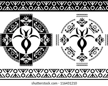 ancient symbols and borders. stencils. vector illustration