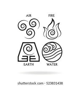 Ancient symbols of four elements with subscribe.