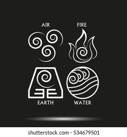 Ancient symbols of four elements with subscribe vector icon isolated on black background.