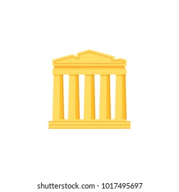 Ancient temple icon. Flat illustration for famous building. Ancient monument.