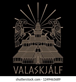 Ancient Temple of the Norse God Odin - Valaskjalf, Odins Halls, and two crows Huginn and Muninn, isolated on black, vector illustration