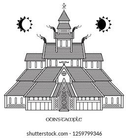 Ancient Temple of the Norse God Odin - Valaskjalf, Odins Halls, isolated on white, vector illustration