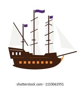 Ancient three-masted sail ship (frigate) of the 18th century which was build in dutch style.