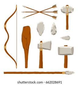 Ancient tools set isolated on white background. Hunting and military weapons of prehistoric man. Primitive culture tools in flat style. Vector illustration.