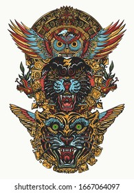 Ancient totem. Panther, tiger, owl and mayan sun. Mexican mesoamerican monolith. Mayan and Aztec style. Wild animals art. Tattoo and t-shirt design