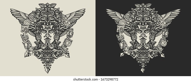 Ancient totem, wings and mayan sun. Template for clothes, covers, emblems, stickers, poster and t-shirt design. Typography art. Vector illustration. Mesoamerican mythology. Aztec art. Mexican god