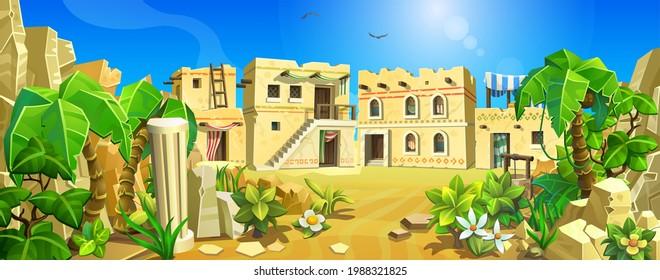 Eine antike alte Stadt, umgeben von Sand, Palmen und Bergen. Steinhäuser der alten Welt. Vektorgrafik.