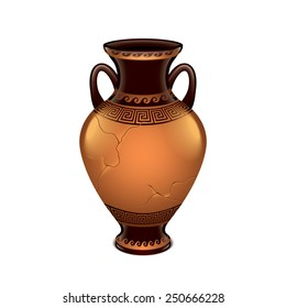 Ancient vase isolated on white photo-realistic vector illustration