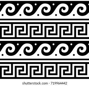 Ancient vector Greek seamless pattern - traditional waves and key pattern form Greece Vector repetitive design - Greek vase patterns in black isolated on white