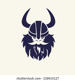Ancient viking head emblem for mascot design. Vector illustration Medieval weapons. Game icons. Cartoon weapons
