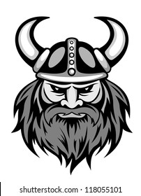 Ancient viking head logo for mascot design. Vector illustration
