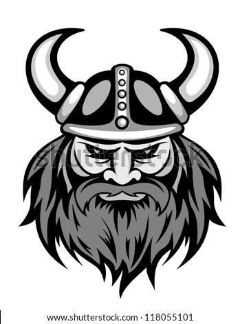 Ancient Viking Head Logo Mascot Design Stock Vector Royalty Free