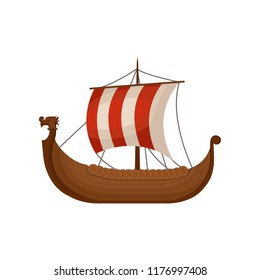 Ancient viking scandinavian draccar, Norman ship sailing vector Illustration on a white background