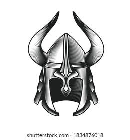 Ancient viking's helmet with horns, armored and horned headpiece of barbarian