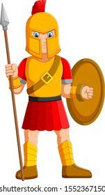 Ancient warrior or Gladiator posing and holding spear