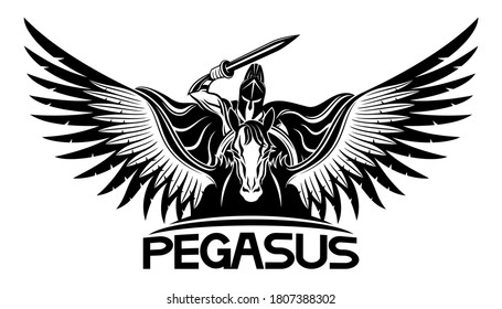 Ancient warrior with a sword and shield riding a Pegasus.