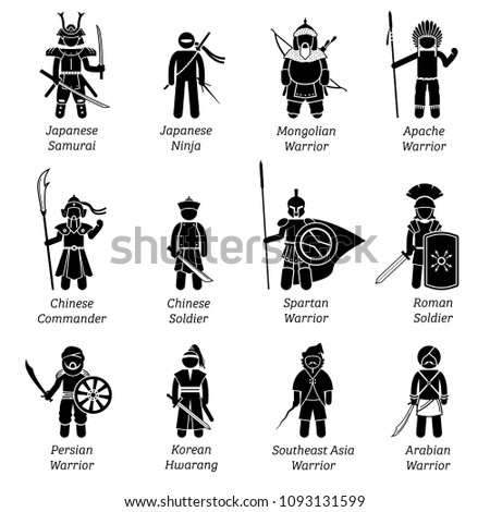 Ancient warriors around the