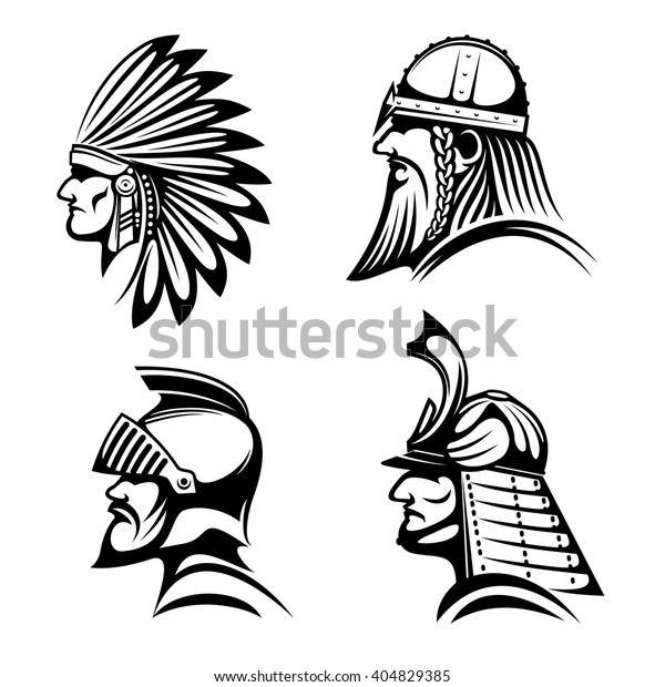 cee8d00170aba Ancient warriors profiles of medieval knight, bearded viking soldier,  japanese samurai and native american